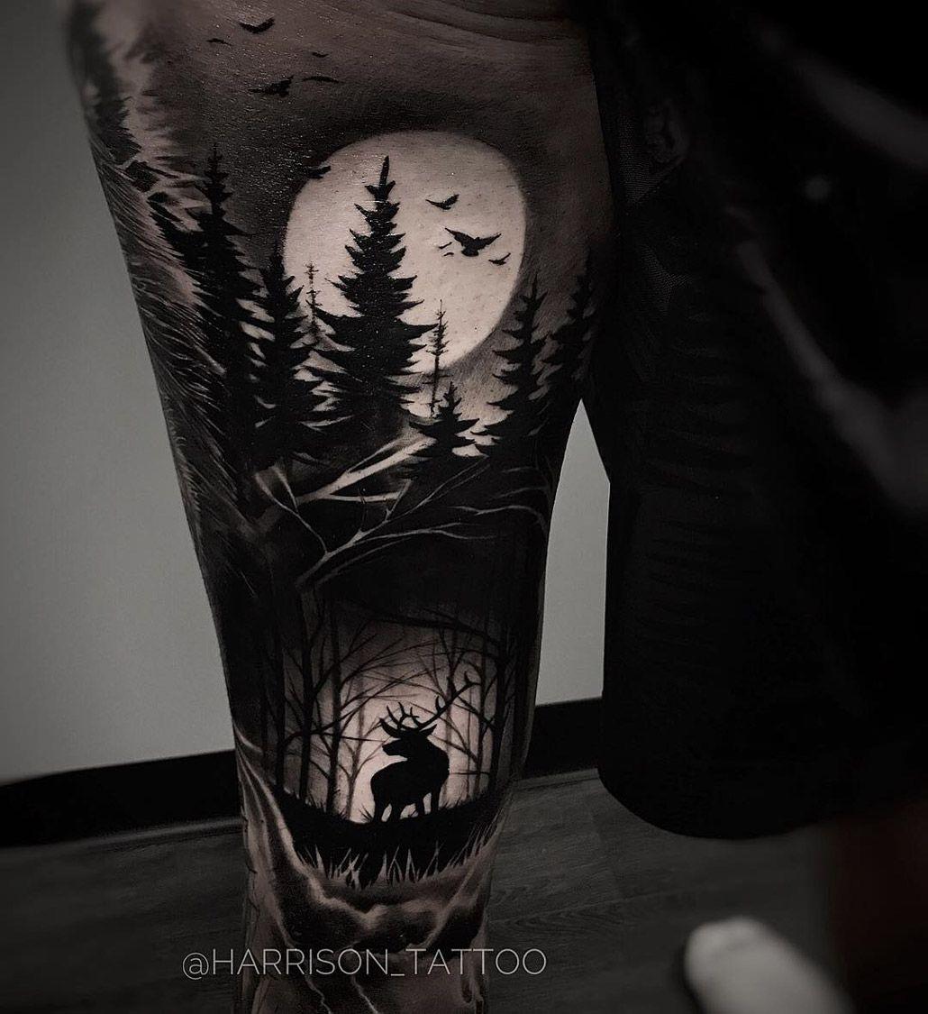 rücken Wald tattoo